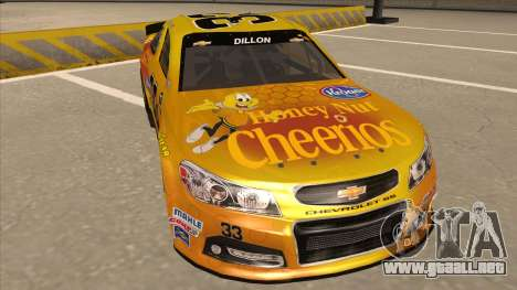 Chevrolet SS NASCAR No. 33 Cheerios para GTA San Andreas left