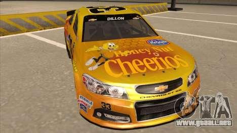 Chevrolet SS NASCAR No. 33 Cheerios para GTA San Andreas left
