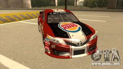 Toyota Camry NASCAR No. 83 Burger King Dr Pepper para GTA San Andreas left