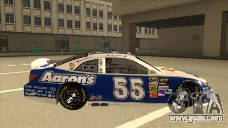 Toyota Camry NASCAR No. 55 Aarons DM blue-white para GTA San Andreas vista posterior izquierda