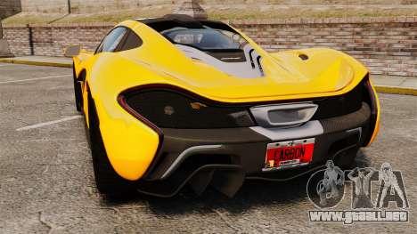 McLaren P1 2013 para GTA 4 Vista posterior izquierda