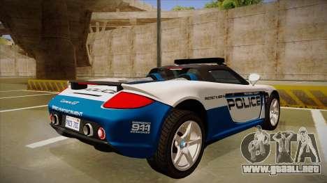 Porsche Carrera GT 2004 Police White para la visión correcta GTA San Andreas