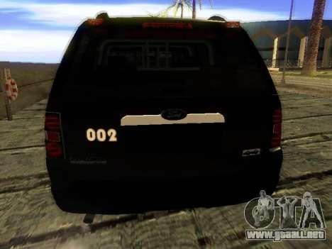 Ford Explorer 2010 Police Interceptor para GTA San Andreas vista posterior izquierda