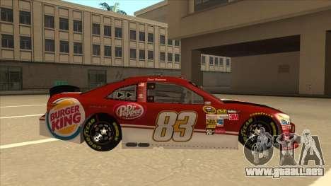 Toyota Camry NASCAR No. 83 Burger King Dr Pepper para GTA San Andreas vista posterior izquierda