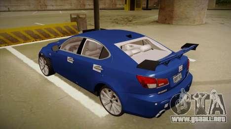 Lexus IS F V1 para GTA San Andreas vista hacia atrás