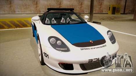 Porsche Carrera GT 2004 Police White para GTA San Andreas left