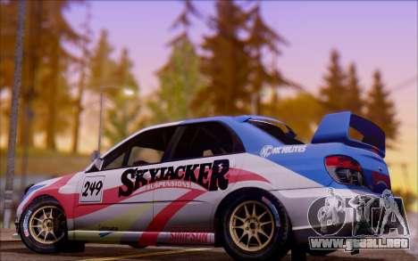 Subaru Impreza WRX STI WRC para visión interna GTA San Andreas