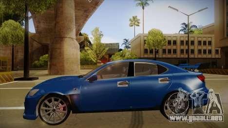 Lexus IS F V1 para GTA San Andreas vista posterior izquierda