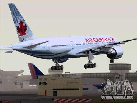 Boeing 777-200ER Air Canada para GTA San Andreas vista posterior izquierda