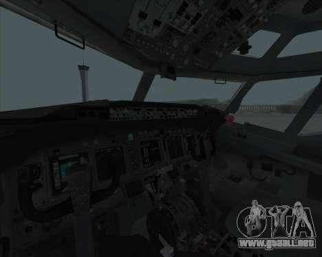 Boeing 737-800 para GTA San Andreas vista hacia atrás