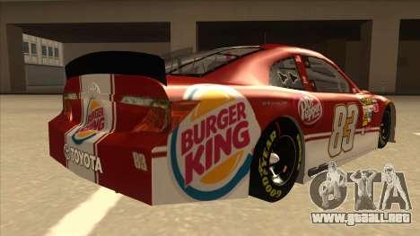Toyota Camry NASCAR No. 83 Burger King Dr Pepper para la visión correcta GTA San Andreas