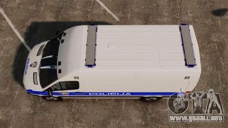 Mercedes-Benz Sprinter Croatian Police v2 [ELS] para GTA 4 visión correcta