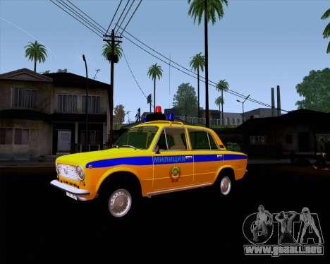 VAZ 21011 policía para GTA San Andreas vista hacia atrás