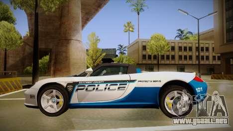 Porsche Carrera GT 2004 Police White para GTA San Andreas vista posterior izquierda
