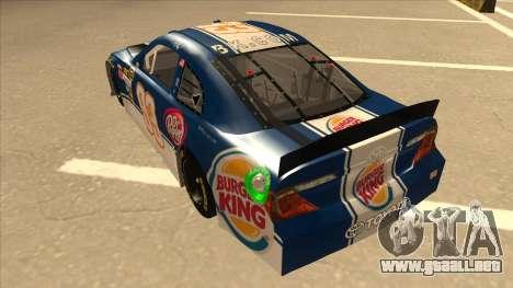 Toyota Camry NASCAR No. 93 Burger King Dr Pepper para GTA San Andreas vista hacia atrás