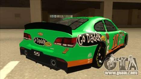 Chevrolet SS NASCAR No. 10 Go Daddy para la visión correcta GTA San Andreas