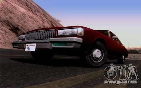 Chevrolet Caprice 1987 para visión interna GTA San Andreas