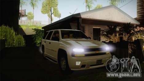 Chevrolet Trail Blazer para GTA San Andreas vista hacia atrás