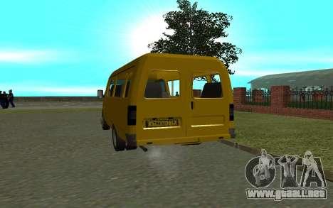 3221 Gacela para GTA San Andreas vista posterior izquierda