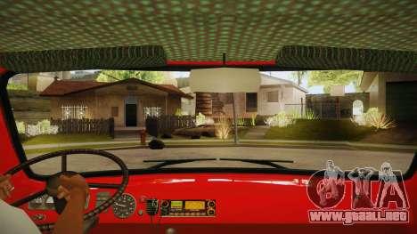 Sede UAZ 452 fuego para visión interna GTA San Andreas
