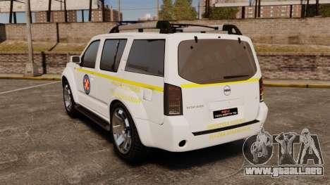 Nissan Pathfinder HGSS [ELS] para GTA 4 Vista posterior izquierda