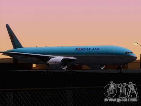 Boeing 777-2B5ER Korean Air para vista inferior GTA San Andreas