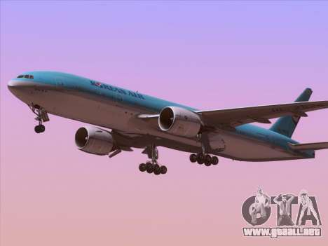 Boeing 777-2B5ER Korean Air para la visión correcta GTA San Andreas