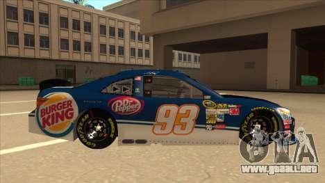 Toyota Camry NASCAR No. 93 Burger King Dr Pepper para GTA San Andreas vista posterior izquierda