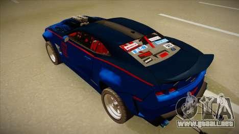 Chevrolet Camaro ZL1 Elite para GTA San Andreas vista hacia atrás