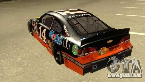 Chevrolet SS NASCAR No. 14 Mobil 1 Bass Pro Shop para GTA San Andreas vista hacia atrás