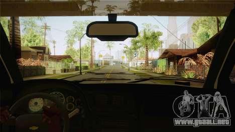 Chevrolet Trail Blazer para visión interna GTA San Andreas