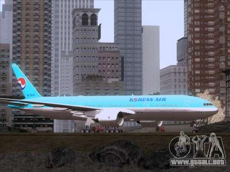 Boeing 777-2B5ER Korean Air para GTA San Andreas vista posterior izquierda