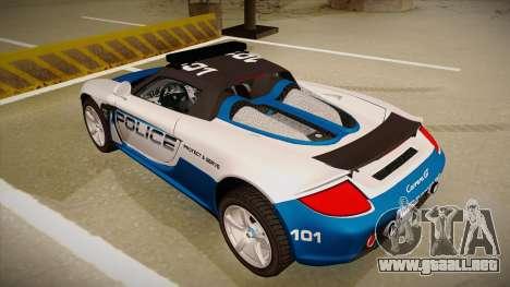 Porsche Carrera GT 2004 Police White para GTA San Andreas vista hacia atrás