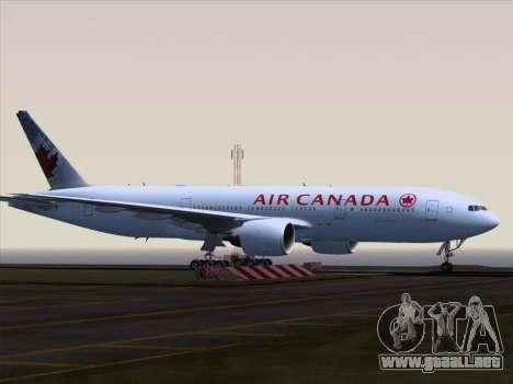 Boeing 777-200ER Air Canada para GTA San Andreas vista hacia atrás