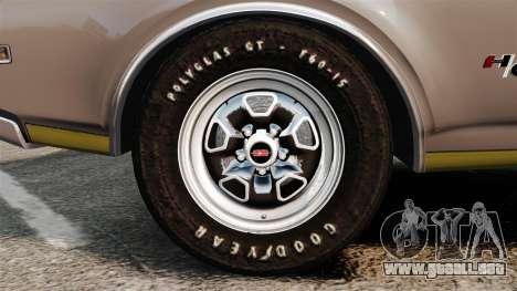 Oldsmobile Cutlass Hurst 442 1969 v1 para GTA 4 vista hacia atrás