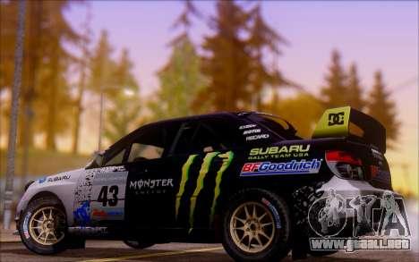 Subaru Impreza WRX STI WRC para GTA San Andreas vista hacia atrás