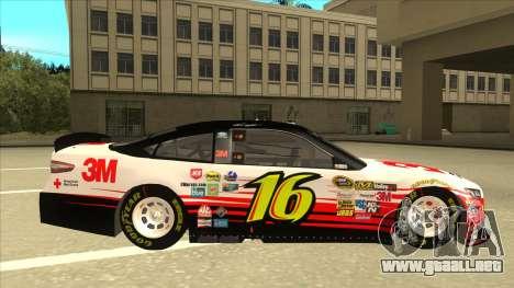 Ford Fusion NASCAR No. 16 3M Bondo para GTA San Andreas vista posterior izquierda