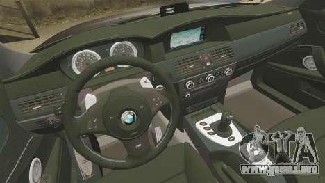 BMW M5 E60 Metropolitan Police Unmarked [ELS] para GTA 4 vista lateral