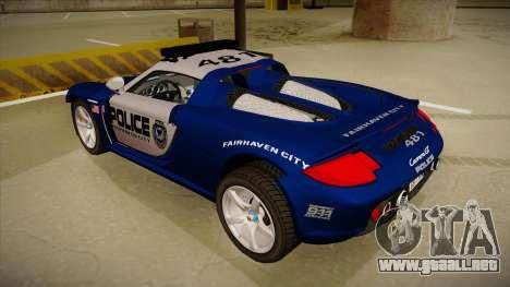 Porsche Carrera GT 2004 Police Blue para GTA San Andreas vista hacia atrás