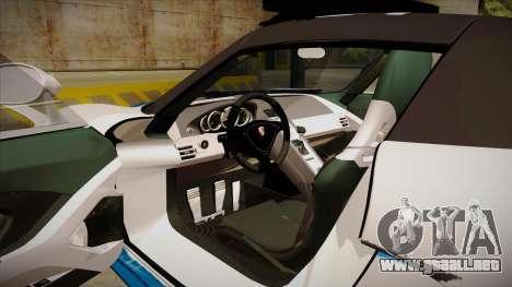 Porsche Carrera GT 2004 Police White para visión interna GTA San Andreas