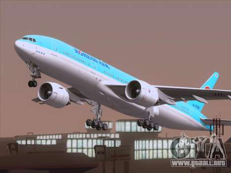 Boeing 777-2B5ER Korean Air para vista lateral GTA San Andreas