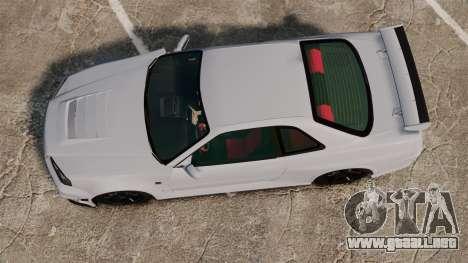 Nissan Skyline R34 GT-R NISMO Z-tune para GTA 4 visión correcta