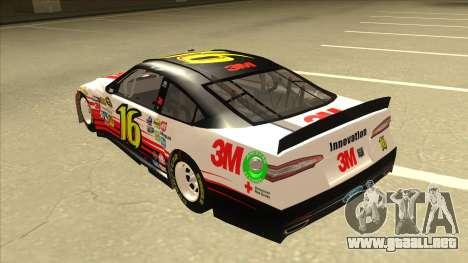 Ford Fusion NASCAR No. 16 3M Bondo para GTA San Andreas vista hacia atrás