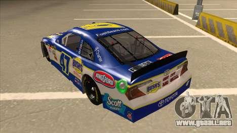 Toyota Camry NASCAR No. 47 Bushs Beans para GTA San Andreas vista hacia atrás