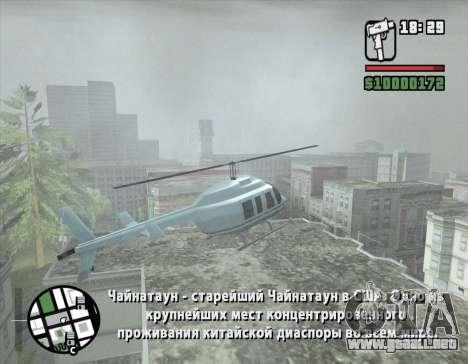 Tour en helicóptero de San Fierro para GTA San Andreas sucesivamente de pantalla