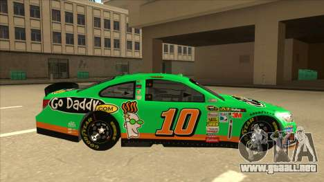 Chevrolet SS NASCAR No. 10 Go Daddy para GTA San Andreas vista posterior izquierda