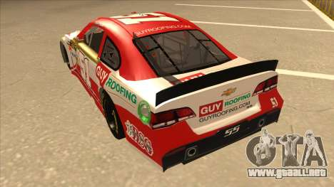 Chevrolet SS NASCAR No. 51 Guy Roofing para GTA San Andreas vista hacia atrás