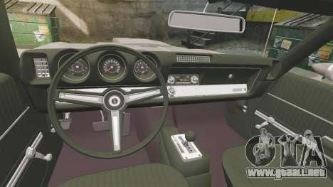 Oldsmobile Cutlass Hurst 442 1969 v1 para GTA 4 vista interior