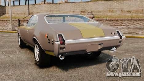 Oldsmobile Cutlass Hurst 442 1969 v1 para GTA 4 Vista posterior izquierda