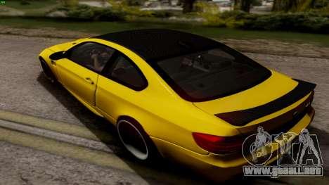 BMW M3 E92 Hamann para GTA San Andreas vista posterior izquierda